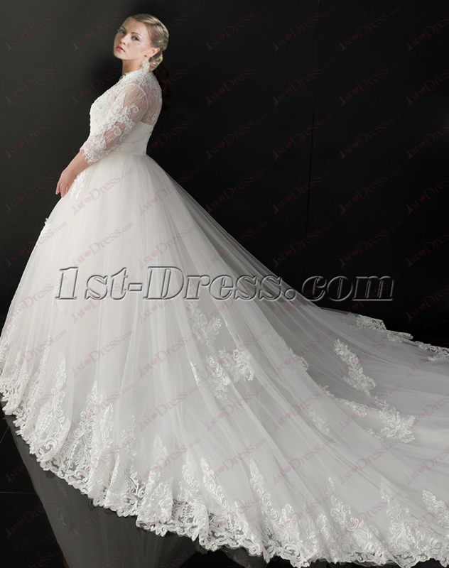 2018 New Plus Size Vintage Lace Wedding Dresses with Sleeves ...