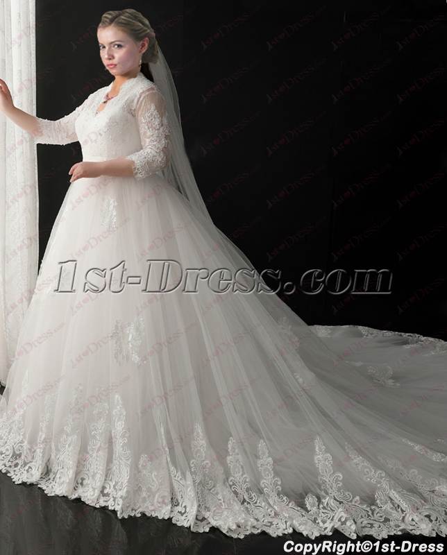 2018 New Plus Size Vintage Lace Wedding Dresses with Sleeves:1st ...