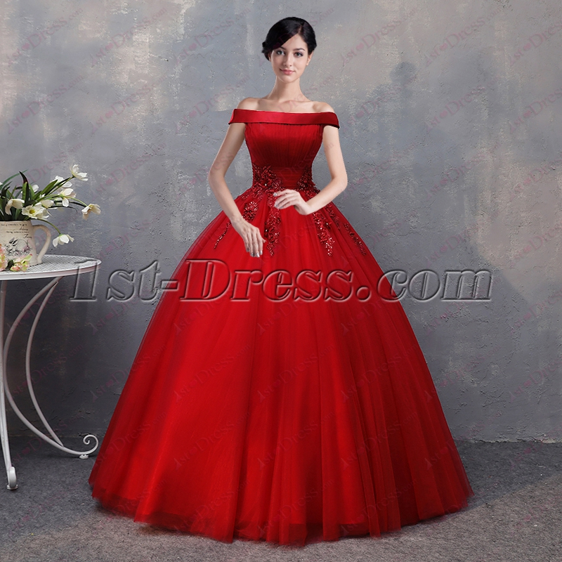 831f57189b 2018 Red Off Shoulder Sweet 15 Party Dress 1st-dress.com