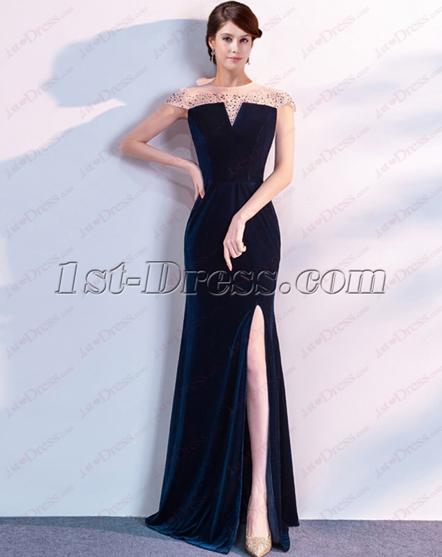 Charming Illusion Teal Blue Velvet Evening Dress With Cap Sleeves
