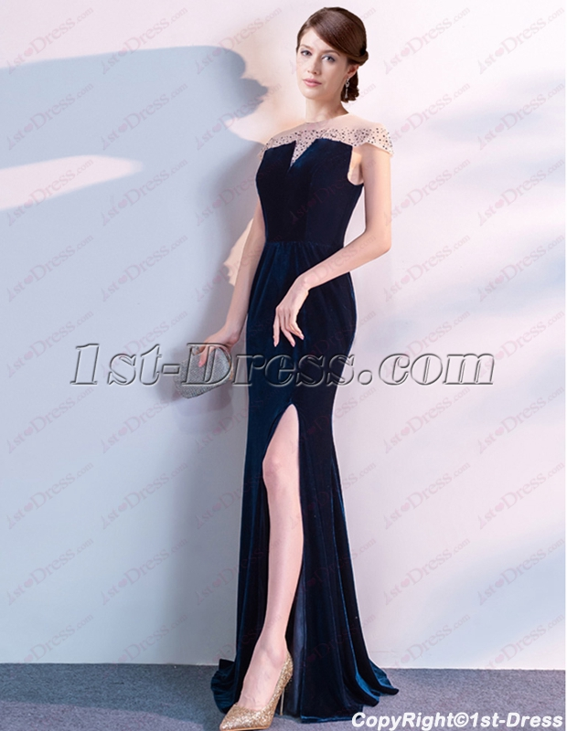 54714cb100c Charming Illusion Teal Blue Velvet Evening Dress with Cap Sleeves (Free  Shipping)