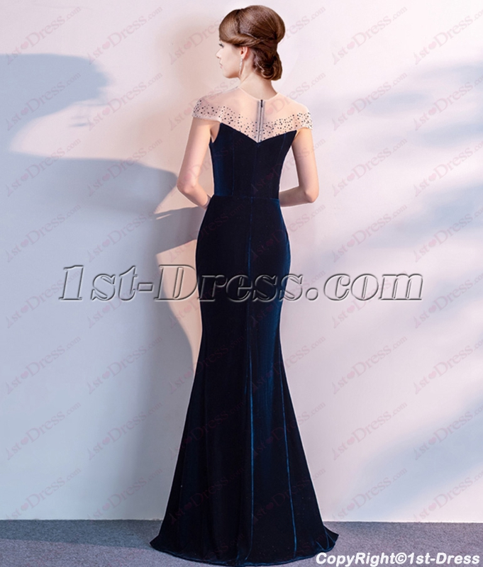 8f28f1fbb66 prev  next. Specifications. Product Name  Charming Illusion Teal Blue  Velvet Evening Dress with Cap Sleeves
