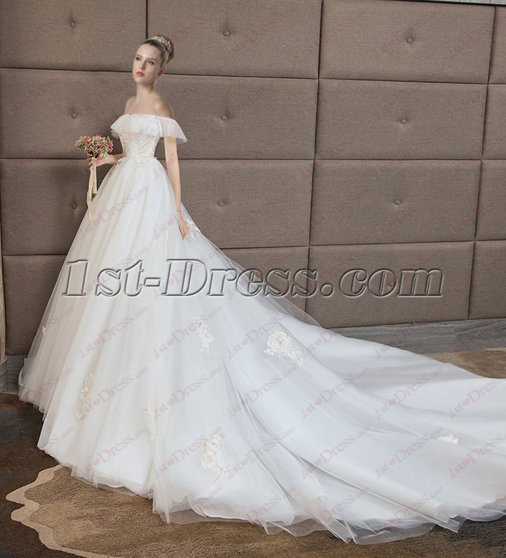 Glamorous Off Shoulder Sweetheart Lace Bridal Gown 2018:1st-dress.com
