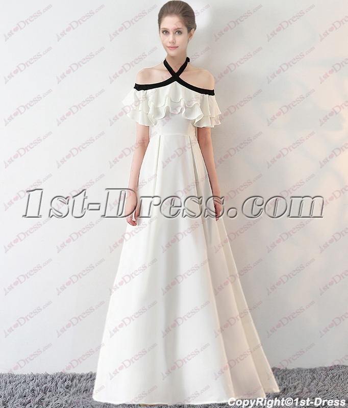 000e67454ac Sweet Black and White Off Shoulder Long Graduation Dress 2018 (Free  Shipping)