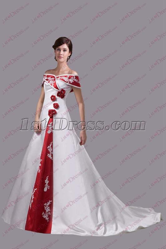 Traditional White And Burgundy Trim Wedding Dress 1st Dress Com