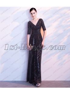 2018 Black Sequins Formal Evening Dress with V-neckline