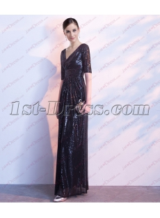 2018 Black Sequins Formal Evening Dress with V-neckline