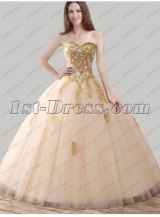 2018 Pretty Champagne and Gold Quince Ball Gown