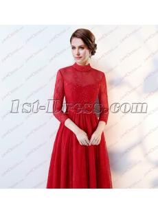 3/4 Long Sleeves Vintage High Neckline Lace Evening Dress 2018