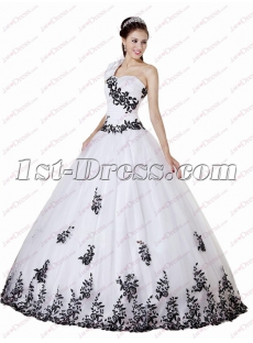 e2af72290fea 40 Beautiful Black and White One Shoulder Quinceanera Ball Gowns 2018
