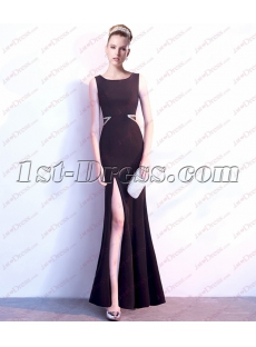 Simple Black Sexy Evening Dress with Slit