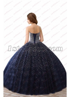 Sparkly Navy Blue Beaded Ball Gown Best Quinceanera Dresses 2018