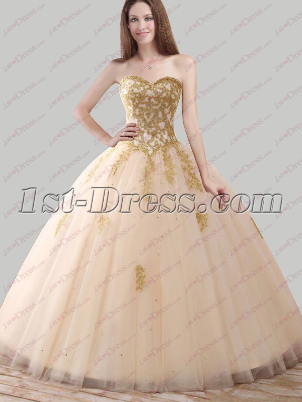 7771f0697b9 2018 Pretty Champagne and Gold Quince Ball Gown 1st-dress.com
