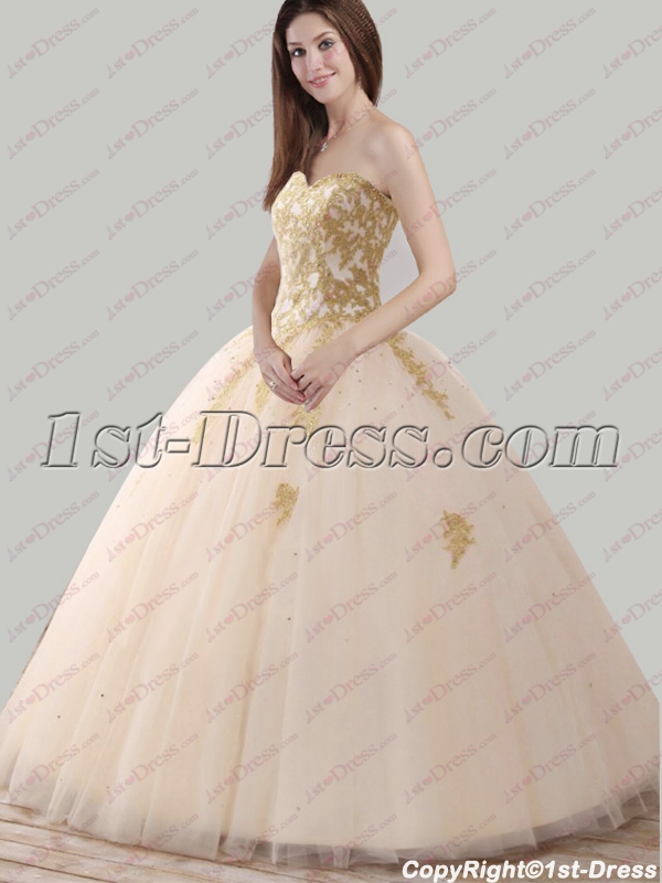 8703a5ca4f6 2018 Pretty Champagne and Gold Quince Ball Gown (Free Shipping)