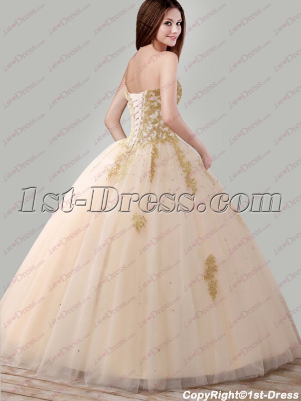 8401b03770e prev  next. Specifications. Product Name  2018 Pretty Champagne and Gold  Quince Ball Gown