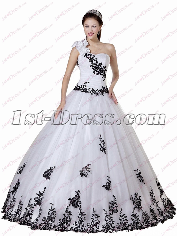 8eb29dbab2c Beautiful Black and White One Shoulder Quinceanera Ball Gowns 2018 (Free  Shipping)