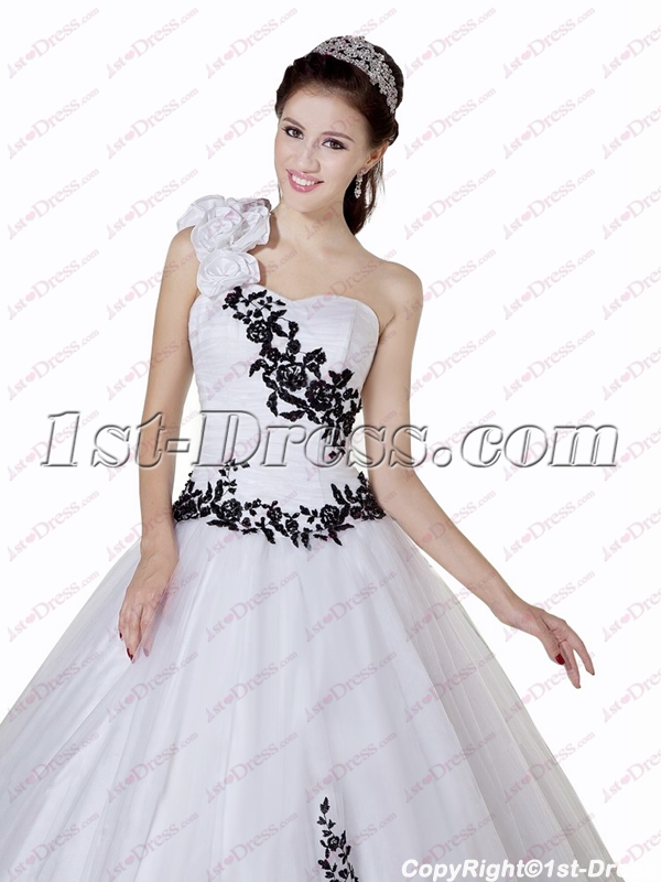 fcbc523be8c prev  next. Specifications. Product Name  Beautiful Black and White One  Shoulder Quinceanera Ball Gowns 2018