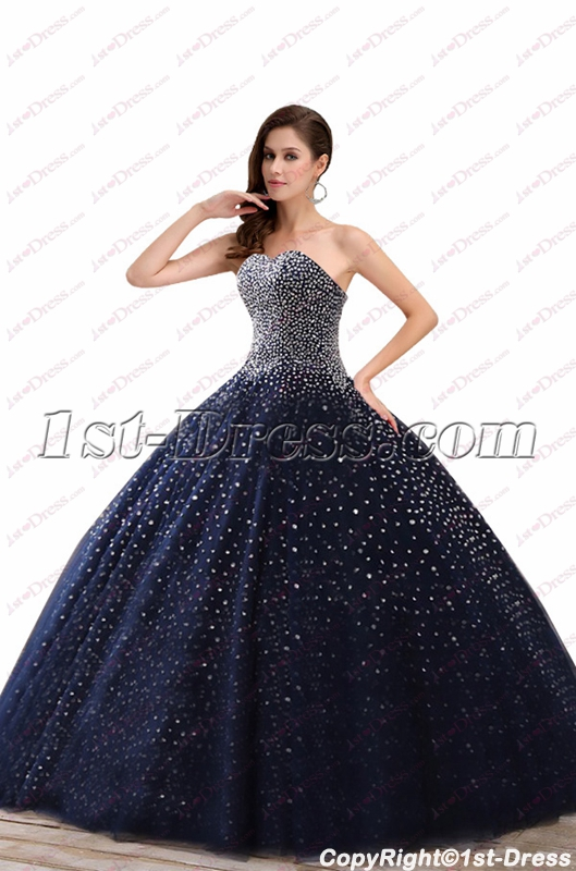 09390abace6 Sparkly Navy Blue Beaded Ball Gown Best Quinceanera Dresses 2018 (Free  Shipping)