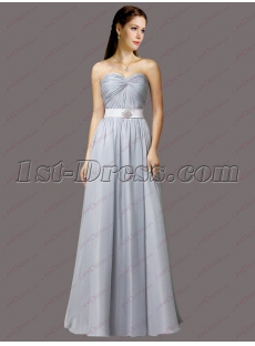 Light Blue Sweetheart Long Chiffon Prom Dress 2018
