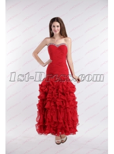 Romantic Red Ruffles Ankle Length Prom Dress for 2019