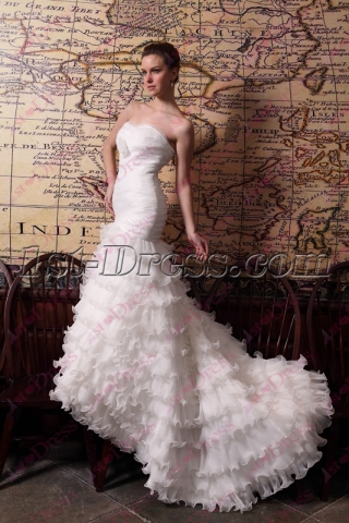 Stunning Strapless Layers Mermaid Wedding Dresses with Long Train