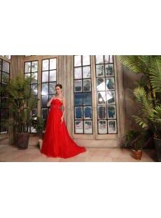 Simple Strapless Tulle Full Length Red Wedding Dresses 2019