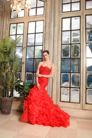 Affordable Strapless Red Mermaid Style Wedding Dresses