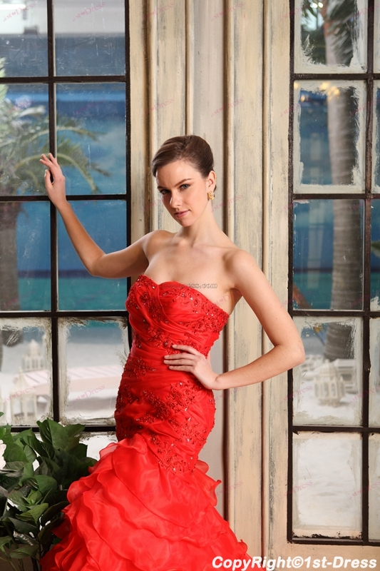 Affordable Strapless Red Mermaid Style Wedding Dresses 1st Dress Com