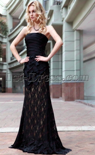 Charming Long Black Mermaid Dress under 100