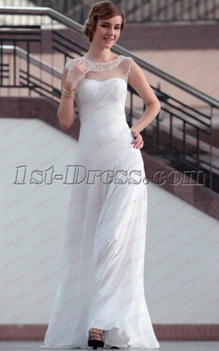 Elegant White Maxi Evening Gown with Illusion Neckline