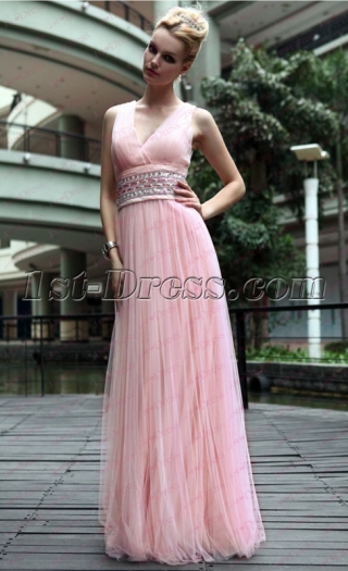 V-neckline Pink Flowy Long Prom Dress under 100