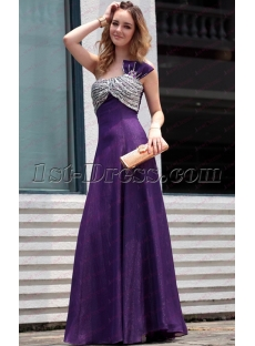 Beautiful One Shoulder Long Purple Prom Dresses under 100