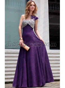 Beautiful One Shoulder Long Purple Prom Dresses under 100
