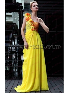 Fancy One Shoulder Long Floral Yellow Prom Dress under 100