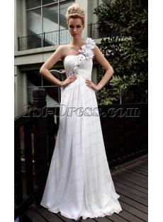 Floral White One Shoulder Long Evening Dress under 100