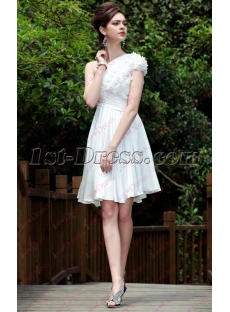 Modest One Shoulder Short White Chiffon Party Dress