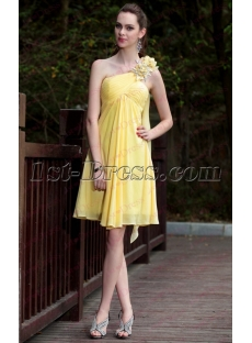 Short Yellow Homecoming Dresses with Streamers under 50 Dollars