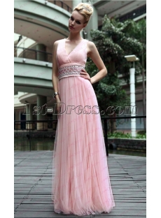 V-neckline Pink Flowy Long Prom Dress under 100