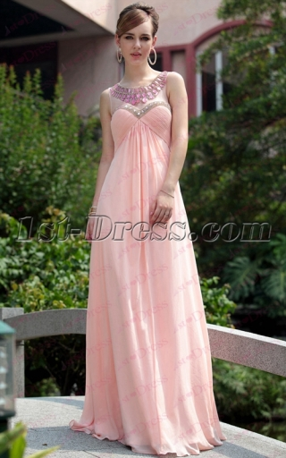 Strapless Vintage Pink Long Empire Prom Dress with Keyhole under 100