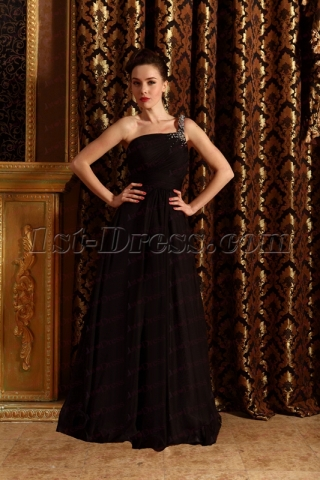 2020 New Simple Black One Shoulder Military Ball Gown