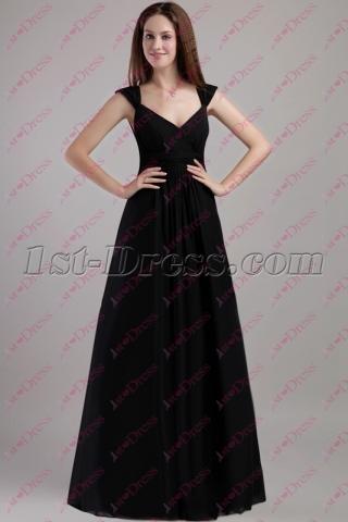 2020 Simple Black Long Plus Size Evening Dress