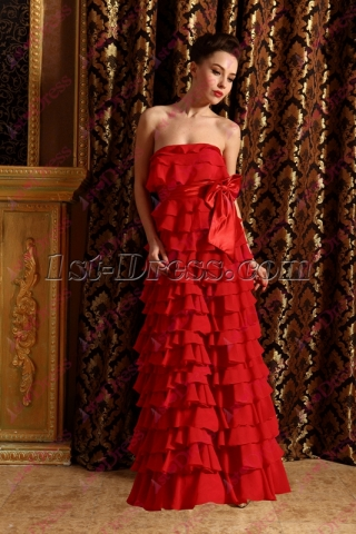 Beautiful Red Tiered Formal Evening Dress 2020