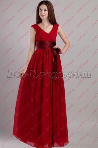 New Simple Dark Red Long Chiffon Homecoming Dress