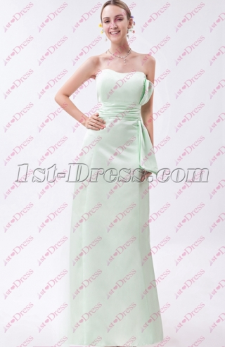 Simple Strapless Sage Full Length Bridesmaid Gown for 2020
