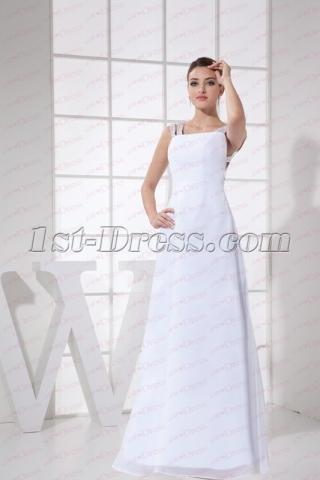 Unique White Straps Celebrity Dress with Keyhole Back