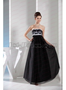 2020 Elegant Strapless Black and White Lace Long Evening Dress for Plus Size