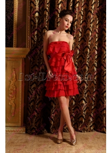 2020 Lovely Red Tiered Homecoming Dress