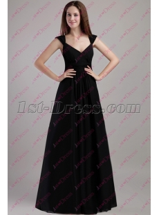 2020 Simple Black Long Plus Size Evening Dress