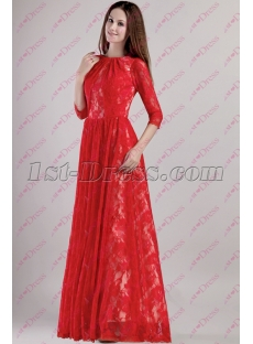 Red Lace Celebrity Dress with Long Sleeves