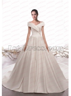 Simple Off Shoulder Satin Vintage Bridal Dress 2020